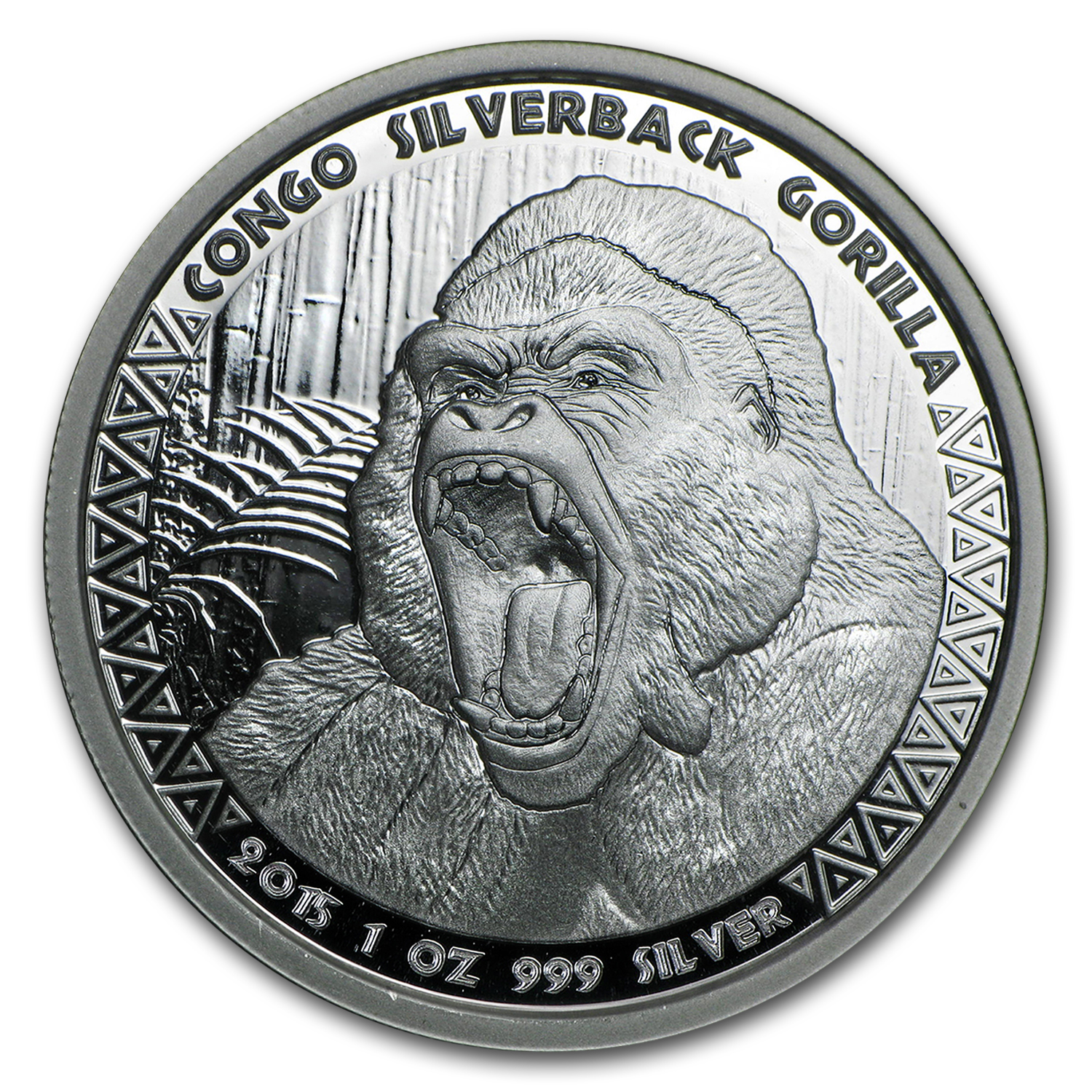 2015 Republic of Congo Silver 1 oz Silverback Gorilla (Prooflike)